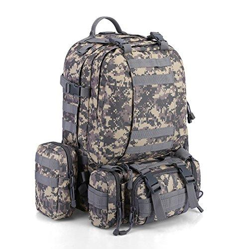 Imagen de g4free 50l paquete de asalto de 3 d¨ªas  t¨¢ctica  militar  de camping  de trekking combinada con 3 bolsas de molle para excursionismo monta?ismo de monta?a alternativa