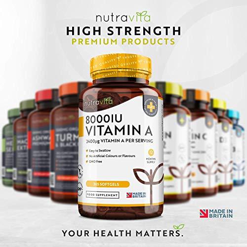 51BlharOfAL - Vitamina A 8000 UI - Suministro para 1 año - 365 cápsulas blandas de la máxima potencia, fáciles de tragar - 2400μg de vitamina A en cada cápsula - Producto elaborado por Nutravita en el Reino Unido