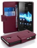 Cadorabo - Etui Housse pour Sony Xperia T - Coque Case Cover Bumper Portefeuille (avec fentes pour cartes) en ORCHIDÉE VIOLETS