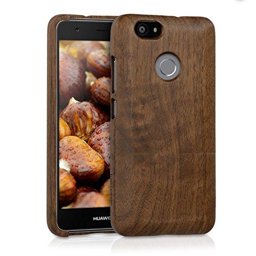 kwmobile Holz Hülle für > Huawei Nova < Case Walnussholz - Handy Cover Schutzhülle aus Holz in Dunkelbraun