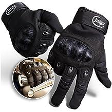 Jutgo Guantes de dedos completos, impermeables, para moto impermeable, para hombres, Negro., X-Large