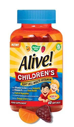 (6 Pack) – Nature's Way – Alive! – Children's Soft Jell | 60 Chewables | 6 PACK BUNDLE
