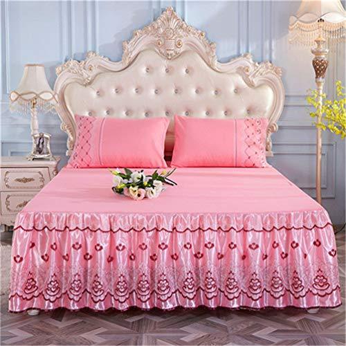 JWANS 1 stück Bett Rock goldene Prinzessin Spitze bettdecke rosa blau koreanischen Stil solide bettdecke volle königin Stil Voller Rock