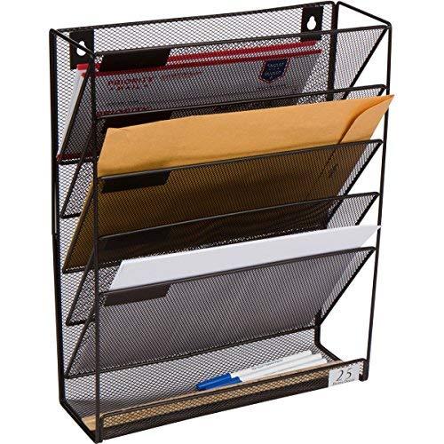5Pocket Wand montiert Datei Aufhängen Organizer Metall Mesh Büro Home Ordner Binder Halter Magazin-Rack + Hardware, Schwarz
