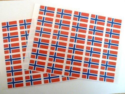 Paquete de 60 , 33x20mm , Noruega Auto-adherente Bandera Pegatinas , autoadhesivo Bandera Etiquetas