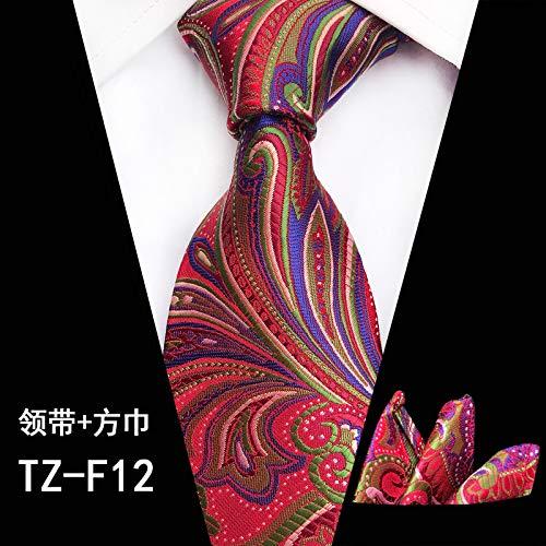LLTYTE Krawatte Bowtie Silk Red Pteris Blumendruck Jacquard Woven Tie + Taschentuch Sets für formelle Hochzeit Business Party Patrick Woven Tie