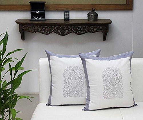 Store Indya, Satz von 2 Baumwolle Weiße Kissenhüllen Kissenbezügen für Sofa Fallen Block bedruckt Blumen Entwurf Zierkissenbezüge kopfkissenbezug