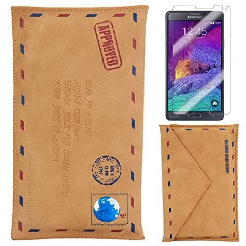 Semoss Retro Design Envelope Mailer Leather Cover Skin for Samsung Galaxy Note 4 PU Wallet Envelope Flip Cover with Screen Protector