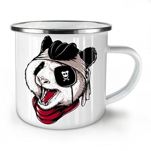 Wellcoda Panda Pirat Böse Tier Emaille-Becher, Kunst - 10 Unzen-Tasse - Kräftiger, griffiger Griff, Zweiseitiger Druck, Ideal für Camping und Outdoor