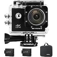 """Action Cam 4K, Wimius Sport Action Camera WIFI Full HD 16MP, Fotocamera Subacquea 4k Impermeabile WebCamera 170°Grandangolare 2.0"""" Schermo LCD con Vari Accessori Kit Nero"""