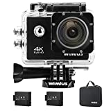 Action Cam 4K, Wimius Sport Action Camera WIFI Full HD 16MP, Fotocamera Subacquea 4k Impermeabile WebCamera 170°Grandangolare 2.0' Schermo LCD con Vari Accessori Kit Nero