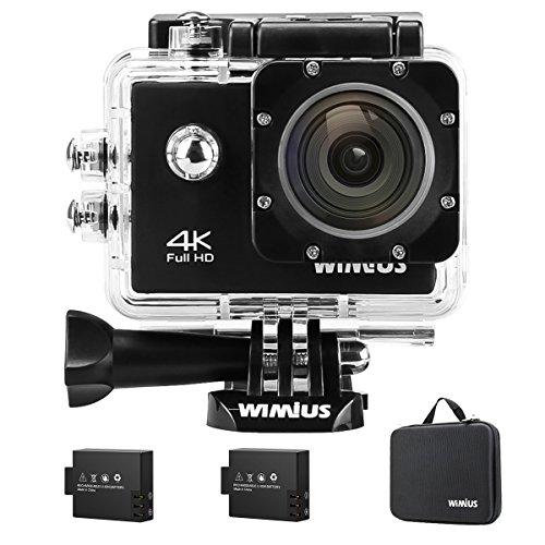 Galleria fotografica Action Cam 4K, Wimius Sport Action Camera WIFI Full HD 16MP, Fotocamera Subacquea 4k Impermeabile WebCamera 170°Grandangolare 2.0 Schermo LCD con Vari Accessori Kit Nero