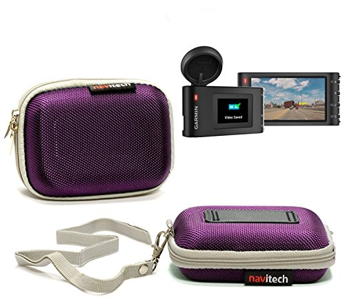 Navitech Purple Water Resistant Hard Sat Nav Case Cover For The Garmin Dashcam 35