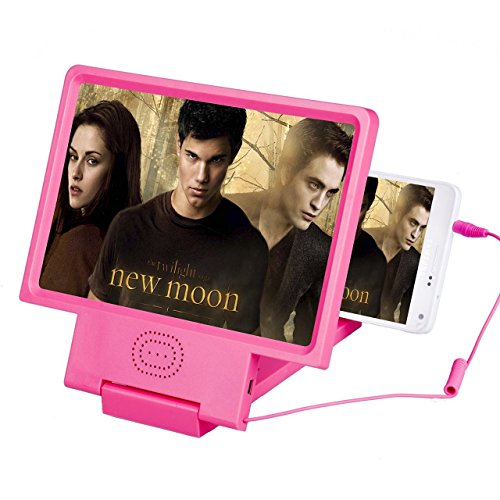 Dax-Hub Screen Amplifier, 3D Telefono Magnifier Screen Movie con supporto del basamento pieghevole e altoparlanti stereo, HD Movie Video Amplificatore - proteggere gli occhi con Telefono pratica staffa Supporto pieghevole basamento per il iPhone, Samsung, Android e altri telefoni intelligenti (con l'altoparlante - nero) (Rosa)