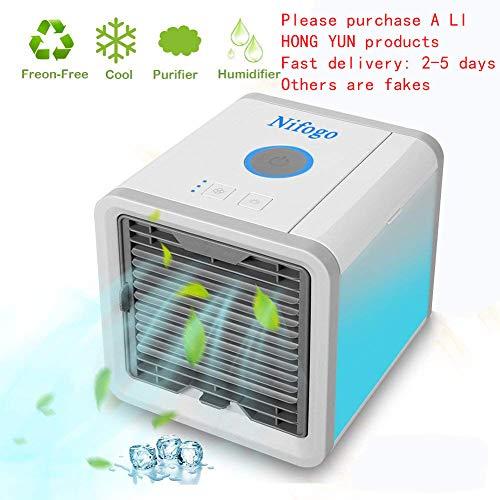 Arctic Cube Air Mini Climatiseur Mobile Portable, Ventilateur USB Muitifonction 3 EN 1 Mini Climatiseur Humidificateur Purificateur 7 LED Couleurs pour Maison/Bureau/Camping Puissance