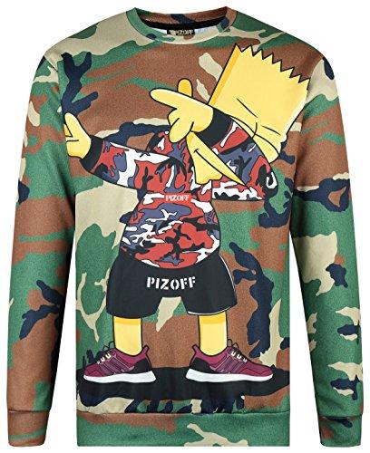 Pizoff Unisex Hip Hop Sweatshirts mit 3D Digital camouflage tarnnung Print 3D Muster Y1627-48-S