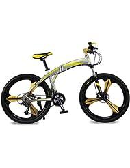 Bicicletas de montaña Marco Plegable de Allumium Hombre Bicicletas 26 pulgadas Shimano 27 velocidad 3 Radios de la Rueda de Magnescium integrado Richbit 601 Nojo Amarillo Nuevo Actualizado
