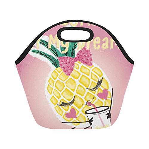 Isolierte Neopren-Lunch-Tasche Nettes Ananas-Grafik-T-Shirt Große wiederverwendbare thermische starke Mittagessen-Einkaufstaschen für Brotdosen für draußen, Arbeit, Büro, Schule - Shirt Männer Thermische