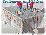villagesdeprovence.net Nappe de Table Indien Attrape Reve Mandala rectangulaire - Anti Taches - 100% Polyester (Tissu) (Grise Clair, 240 x 150 cm, Rectangulaire)