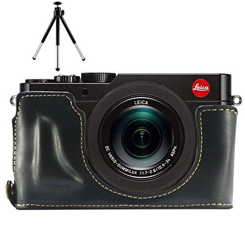 First2savvv XJPT-TYP109-D01G6 Gehäusehälfte präzise Passform PU-Leder Kameratasche Fall Tasche Cover für Leica D-LUX (Typ 109) mit Mini-Stativ