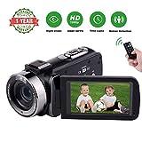 Videocamara Videocamaras 1080P Full HD 30FPS Cámara de grabación de Infrarrojos Camara de Video de visión Nocturna Camera vlog 16X con la función de Pausa y el Control Remoto