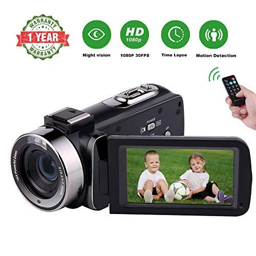 Videokamera Camcorder 1080P Full HD 30FPS Vlog Kamera IR Nachtsicht Camcorder Kamera 16X Digitalkamera mit Pause Funktion und Fernbedienung Ir-kamera