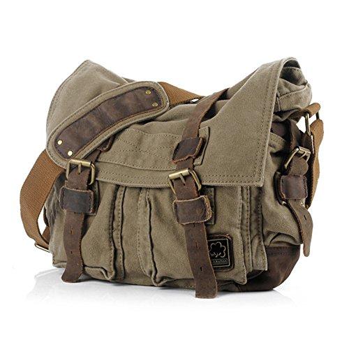 Jonon Vintage Military Men Messenger Bag para 13.3-17