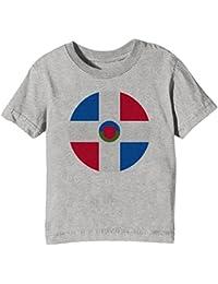 Dominicano República Nacional Bandera Niños Unisexo Niño Niña Camiseta Cuello Redondo Gris Manga Corta Todos Los