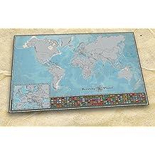 Scratchy Planet®, mapamundi para rascar en formato mini, mapamundi de rascar, mapamundi pequeño para rascar, atlas de rascar, mapa internacional Scratch, versión pequeña