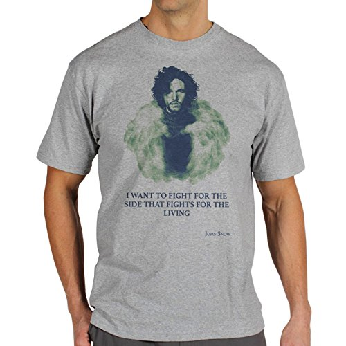 Game Of Thrones Jon Snow Quote I Want To Fight For The Side That Fights For The Living Herren T-Shirt Grau