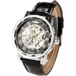 Zeagoo Men Classic Transparent Black Hollow Out Mechanical Wrist Watch