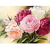 MXJSUA DIY 5D Diamond Painting by number Kits, trapano rotonda strass punto croce immagine Craft for home Wall Decor 12 x 16in peonia