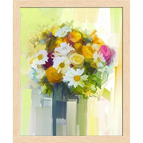 ArtzFolio Still Life A Bouquet of Flowers D2 Canvas Painting Natural Brown Wood Frame 18 X 22Inch Bouquet Natural Wood