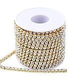 NBEADS 1 rotolo 2.6 mm Catena di Cristallo placcato Oro Strass Catene per Scarpe, gioielli, Abbigliamento, artigianato, Abito da sposa, decorazione Festa FAI da te