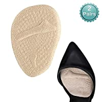 BIGBIGWORLD Ball of Foot Cushions, 2 Pairs Anti-Slip Shoe Pads Inserts Gel Forefoot Insoles for Women High Heels, Shock-Absorbing Invisible Bow Pad, Relieve Pressure and Pains