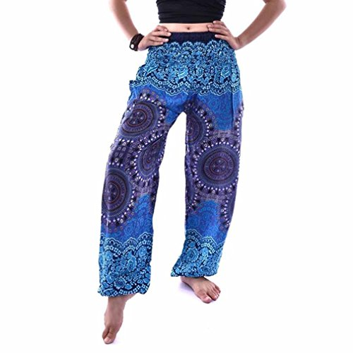 Pantalon de Sport ❤ Femmes leggings Fitness Yoga Pantalons athlétiques ❤ Pantalon élastique Thai SAROUEL PANTALON Bohème Festival hippy blouse haute taille yoga blue