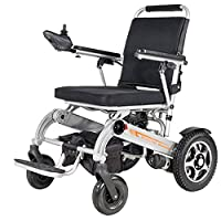 ACEDA Heavy Duty Electric Wheelchair, Foldable And 19.8Kg Lightweight Powered Wheelchair, 360° Joystick, Seat Width 45Cm,Support 150Kg,4 Shock Absorbers Motorized Wheelchair