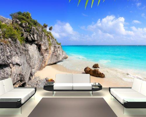 Fototapete selbstklebend Tulum Mexiko - Karibik - 155x100 cm - Wandtapete - Poster - Dekoration - Wandbild - Wandposter - Bild - Wandbilder - Wanddeko