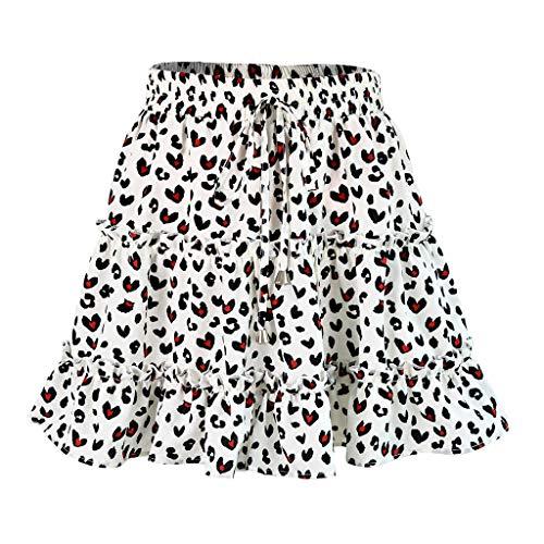 MAYOGO Women Summer Casual Bohe High Waist Ruffled Floral Print Beach Short Skirt Volant Rock - Ruffled Front Bluse