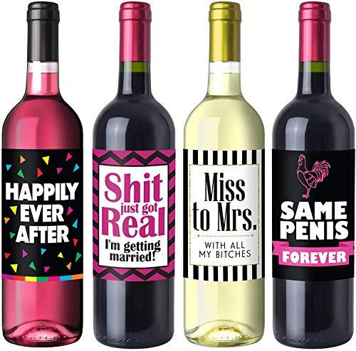 Sterling James Co. Junggesellinenabschied Flaschenetiketten für Weinflaschen - Bachelorette Party-Geschenke, Zubehör und Dekorationen