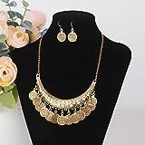 Vintage Metallic Münze Ohrring Und Halskette Set Schmuckset Boho-Stil Bib Front - Gold