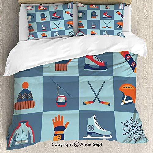 Frühling Snowboard Handschuhe (3-teiliges Bett-Set, Eislaufen Wintersport Skischuh Kappe Brille Handschuh Helm Skates Snowboard Print, Leichte Tagesdecke für Frühling und Sommer)