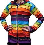 Shopoholic Fashion Lang Elf Kapuzen Regenbogen gestreift bunt jacke,Boho Hippie kapuzenpulli - Regenbogenforelle, X-Large