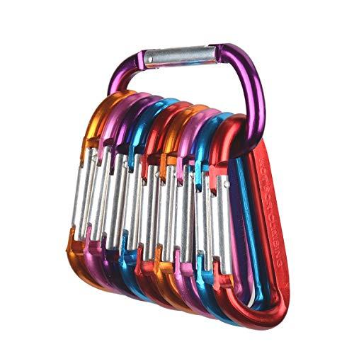 Tougo 10 Stück Karabiner Schlüsselanhänger D-Ring Aluminiumlegierung Karabinerhaken für Camping, Wandern, Angeln, Schwarz,Colorful