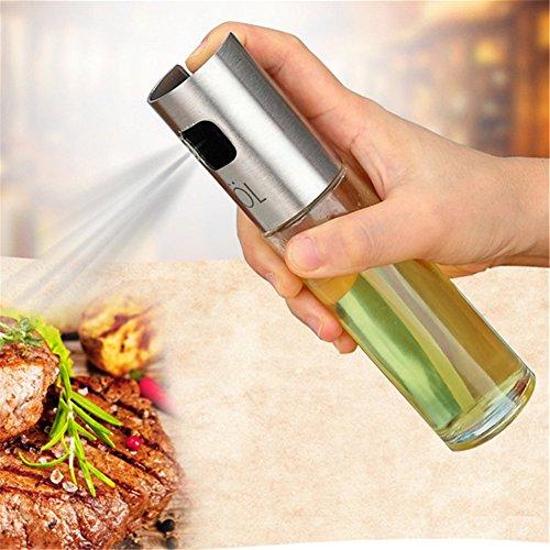 Aceite dispensador de sprayer, aceite vinagre sprayer/dispensador aceite de oliva botella de cristal 100 ml para cocinar, ensalada, freír, barbacoa, asar y cocina