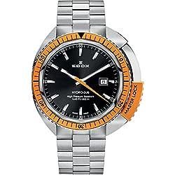 EDOX 53200 3OM NIN - Reloj para hombres, correa de acero inoxidable