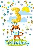 8 Einladungskarten 3. Kindergeburtstag Jungen Mädchen Tiere dritte Geburtstag Geburtstagseinladungen Einladungen Geburtstagsparty Kartenset Tiger