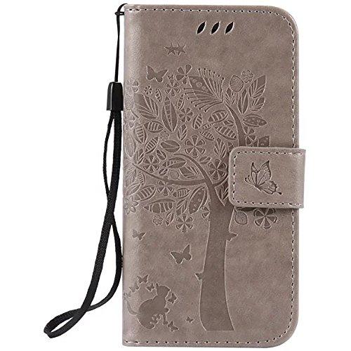 iPhone Case Cover Geprägte Blumen Katze und Baum-Kasten, Normallack PU-lederner Fall-Silikon-Abdeckungs-Mappen-Standplatz mit Handbügel für iPhone 7 ( Color : Black , Size : IPhone 7 ) Gray
