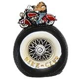 """Spardose """"Biker - Club"""", Sparbüchse Reifen mit Motorradfahrer, ca. 10 x 14 cm, Höhe: 19 cm"""