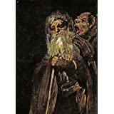 demonología, Witchcraft, con ojetes & Magick Dos viejos, detalle, desde el negro pinturas por Francisco goya c1819–23–250g/m2, A3satinado), diseño tarjeta reproducción de póster